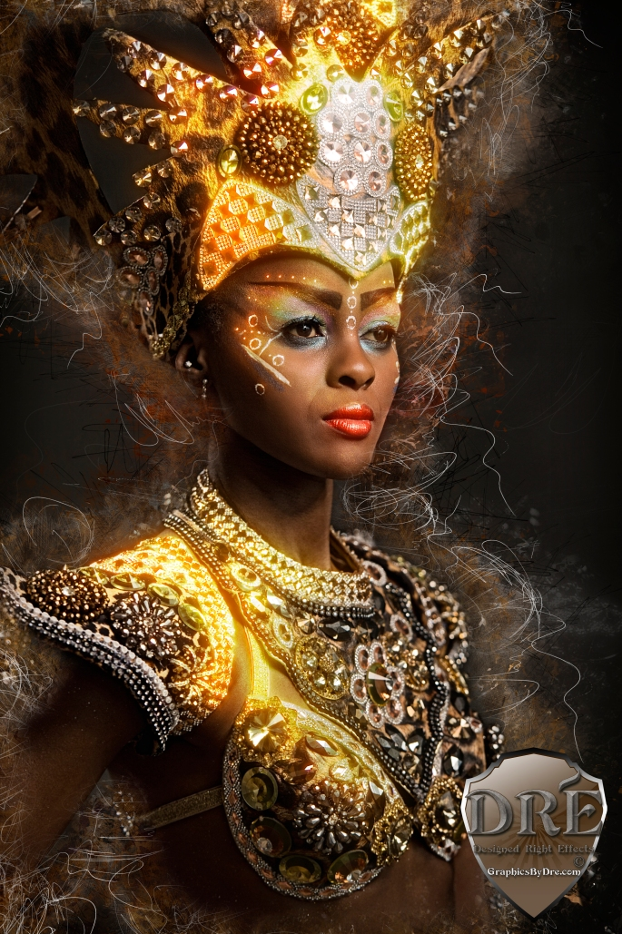 Beautiful african woman wearing carnival dress
